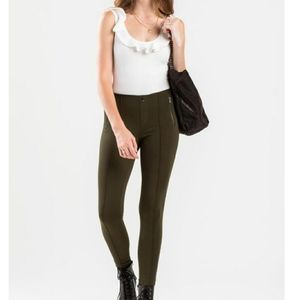 Boom Boom Jeans Olive Side Zippers Pull On Pants M